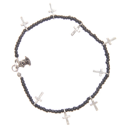 Bracelet with crosses and black beads 1