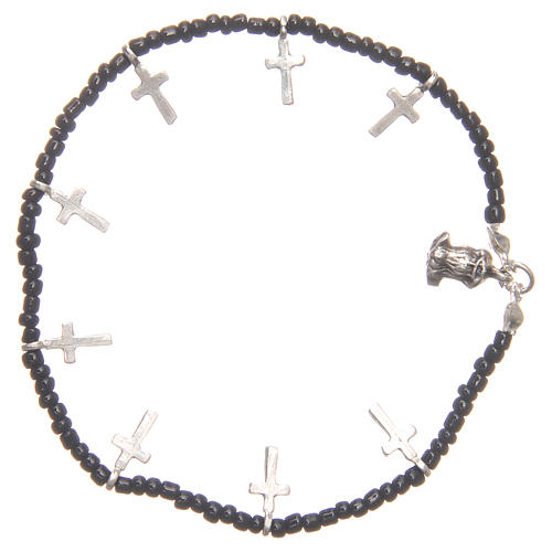Bracelet with crosses and black beads 2