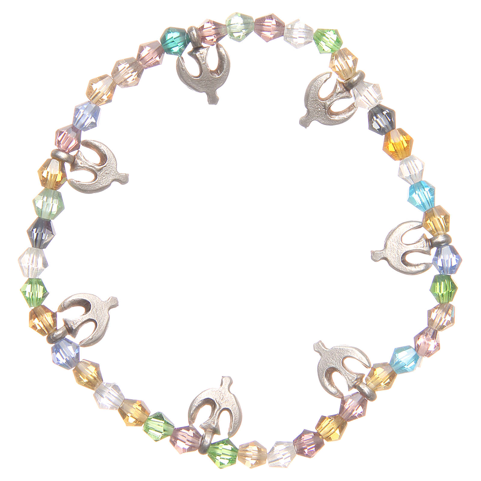 Bracciale pace perline color pastello 4
