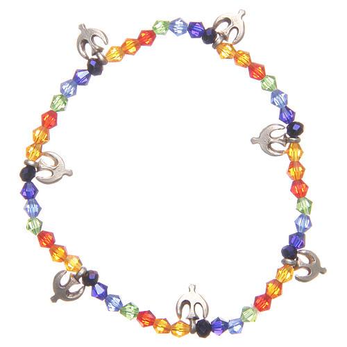Bracelet paix perles arc-en-ciel