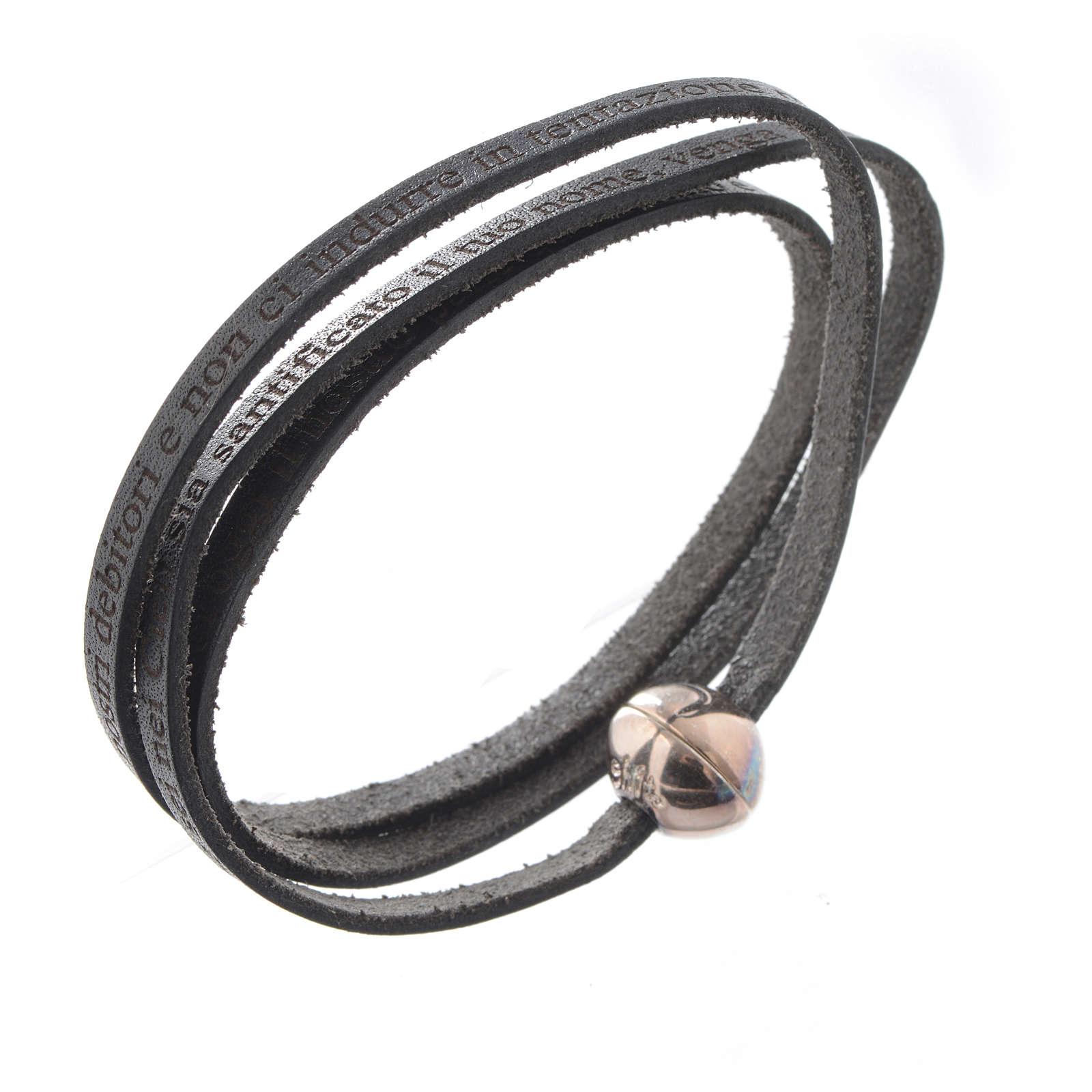 Bracelet cuir boule Notre Père homme noir ITA 4
