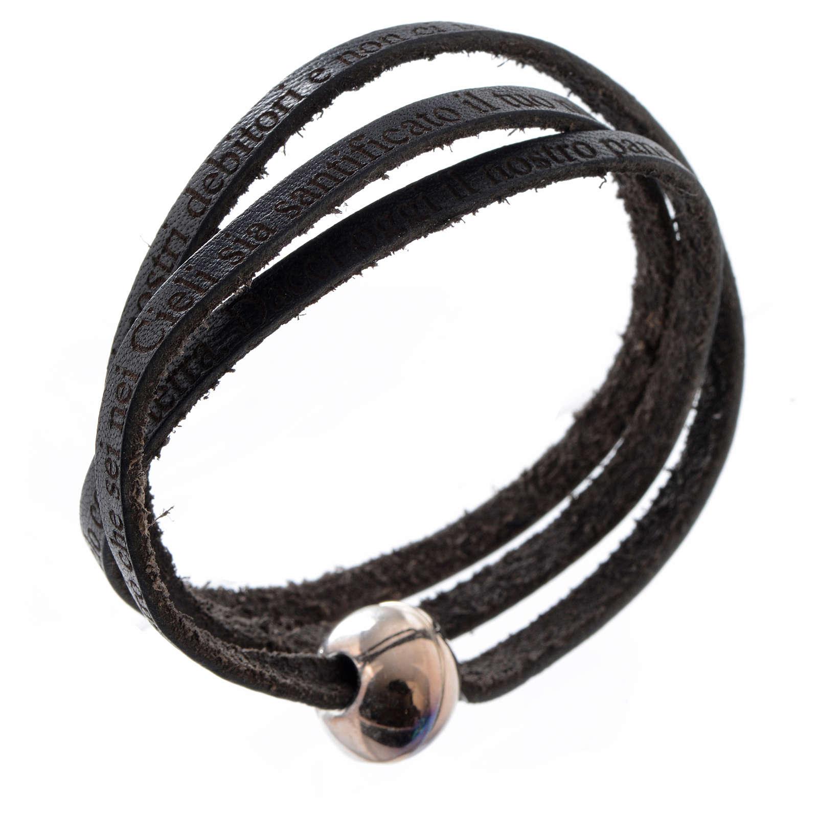 Bracelet cuir boule Notre Père femme noir ITA 4