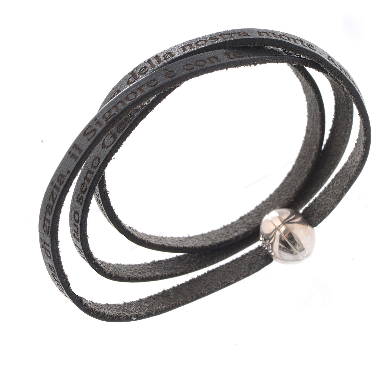 Bracelet cuir boule Ave Maria homme noir ITA 4