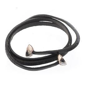 Bracelet cuir boule Ave Maria homme noir ITA s2