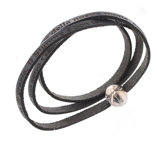Bracelet cuir boule Ave Maria homme noir ITA 1
