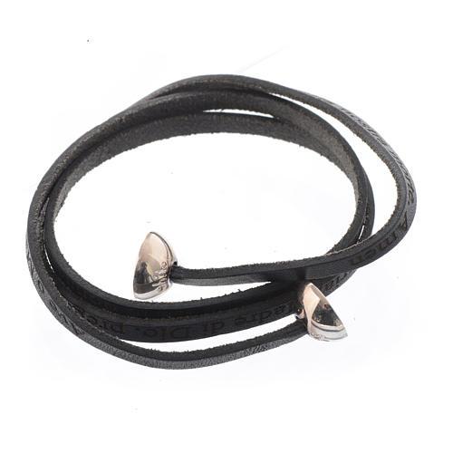 Bracelet cuir boule Ave Maria homme noir ITA 2