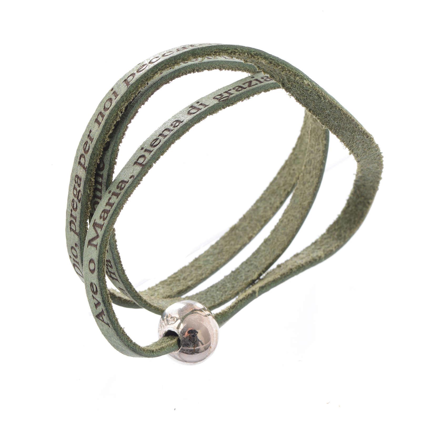 Bracelet cuir boule Ave Maria homme vert ITA 4