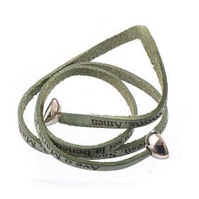 Bracelet cuir boule Ave Maria homme vert ITA s2