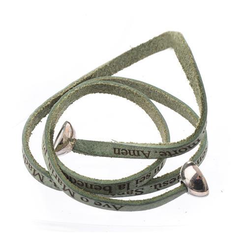 Bracelet cuir boule Ave Maria homme vert ITA 2