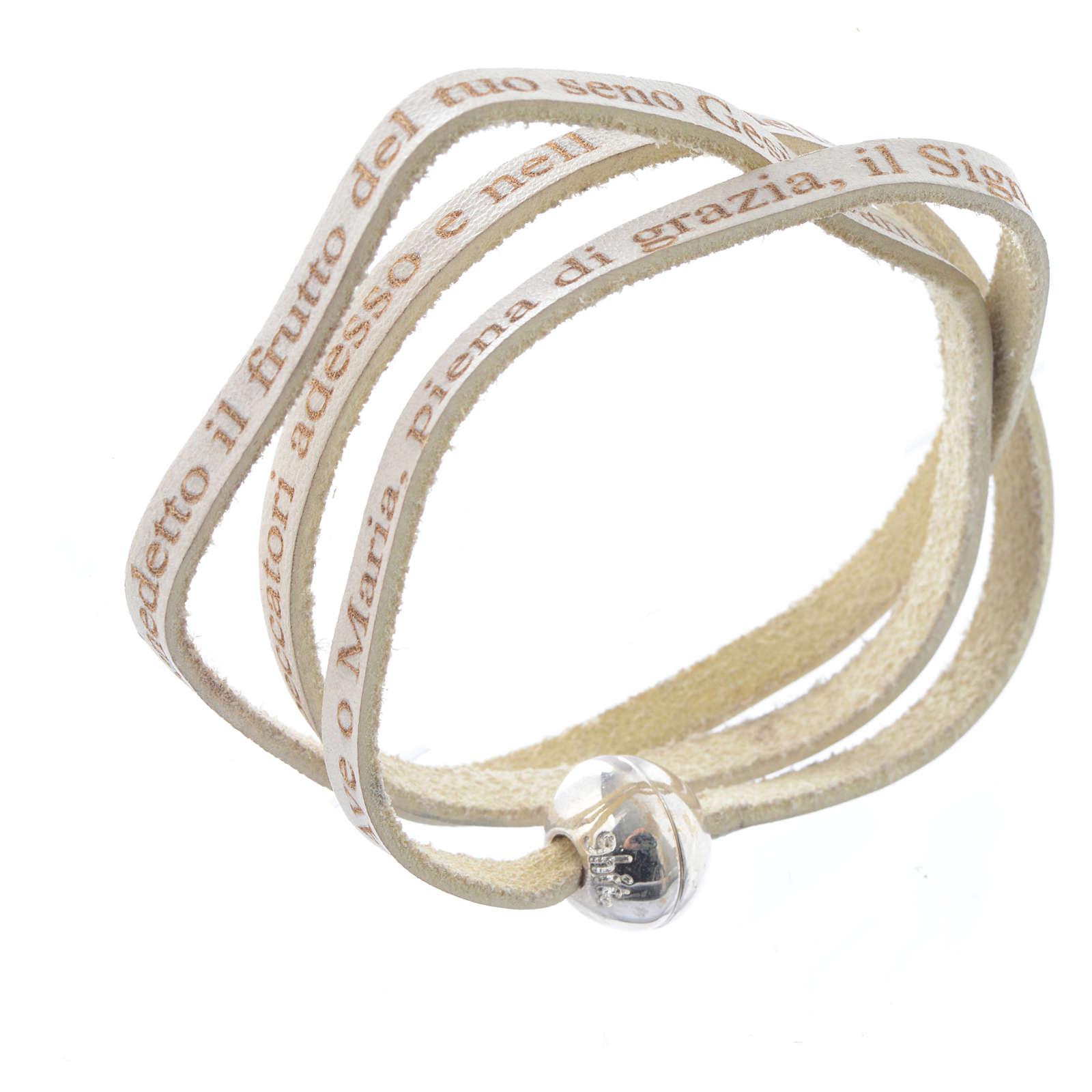 Bracelet cuir boule Ave Maria homme blanc ITA 4