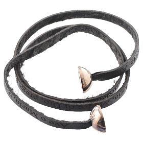 Bracelet cuir boule Ave Maria femme noir ITA s2