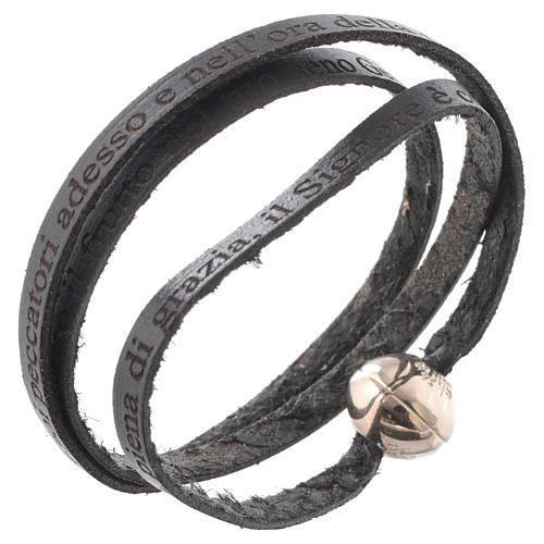 Bracelet cuir boule Ave Maria femme noir ITA 1