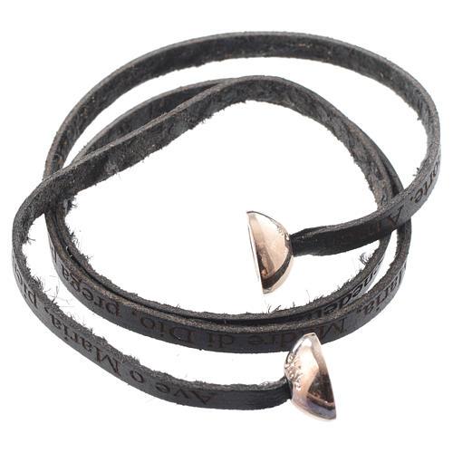 Bracelet cuir boule Ave Maria femme noir ITA 2