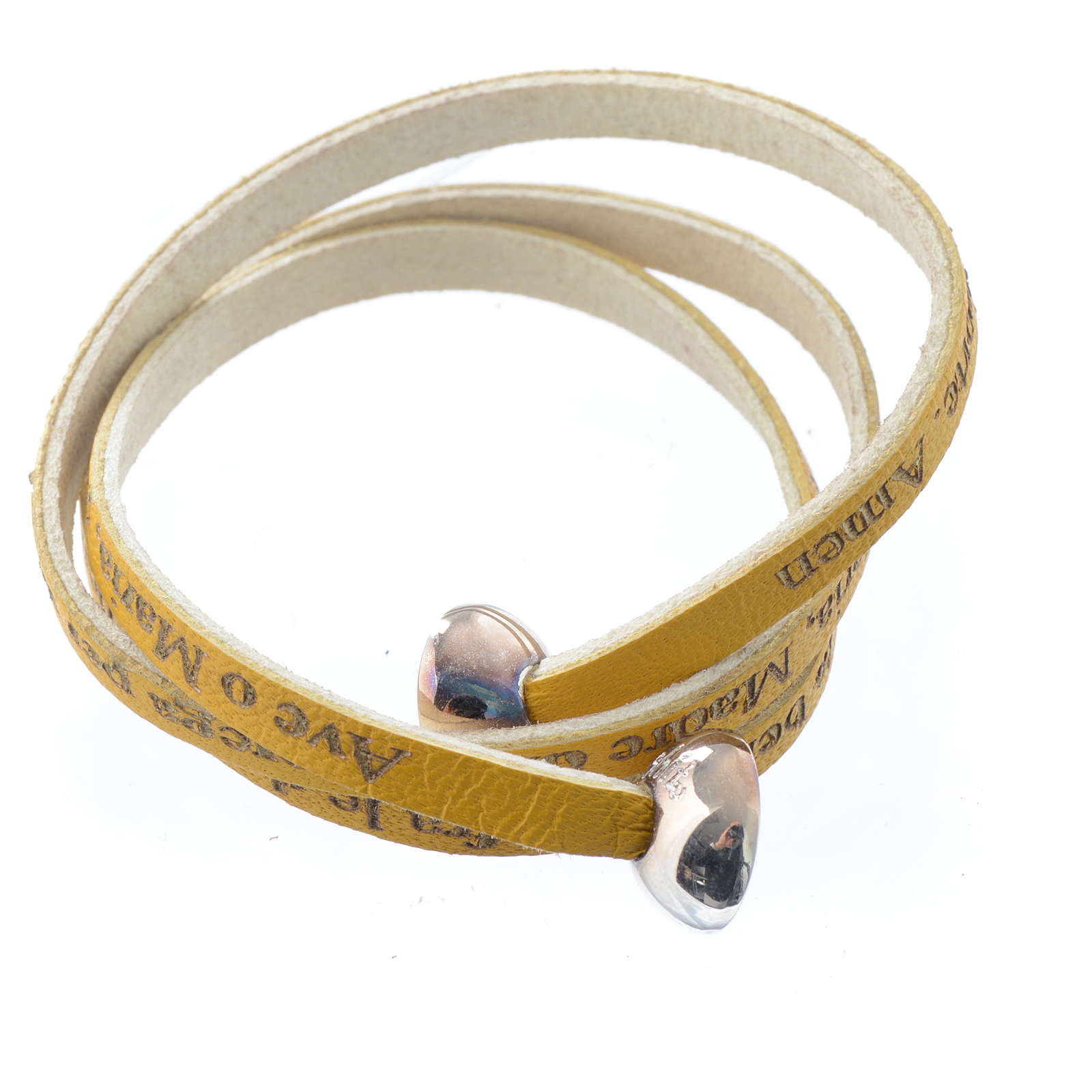 Bracelet cuir boule Ave Maria femme jaune ITA 4