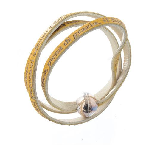 Bracelet cuir boule Ave Maria femme jaune ITA 1