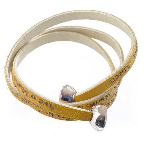 Bracelet cuir boule Ave Maria femme jaune ITA 2