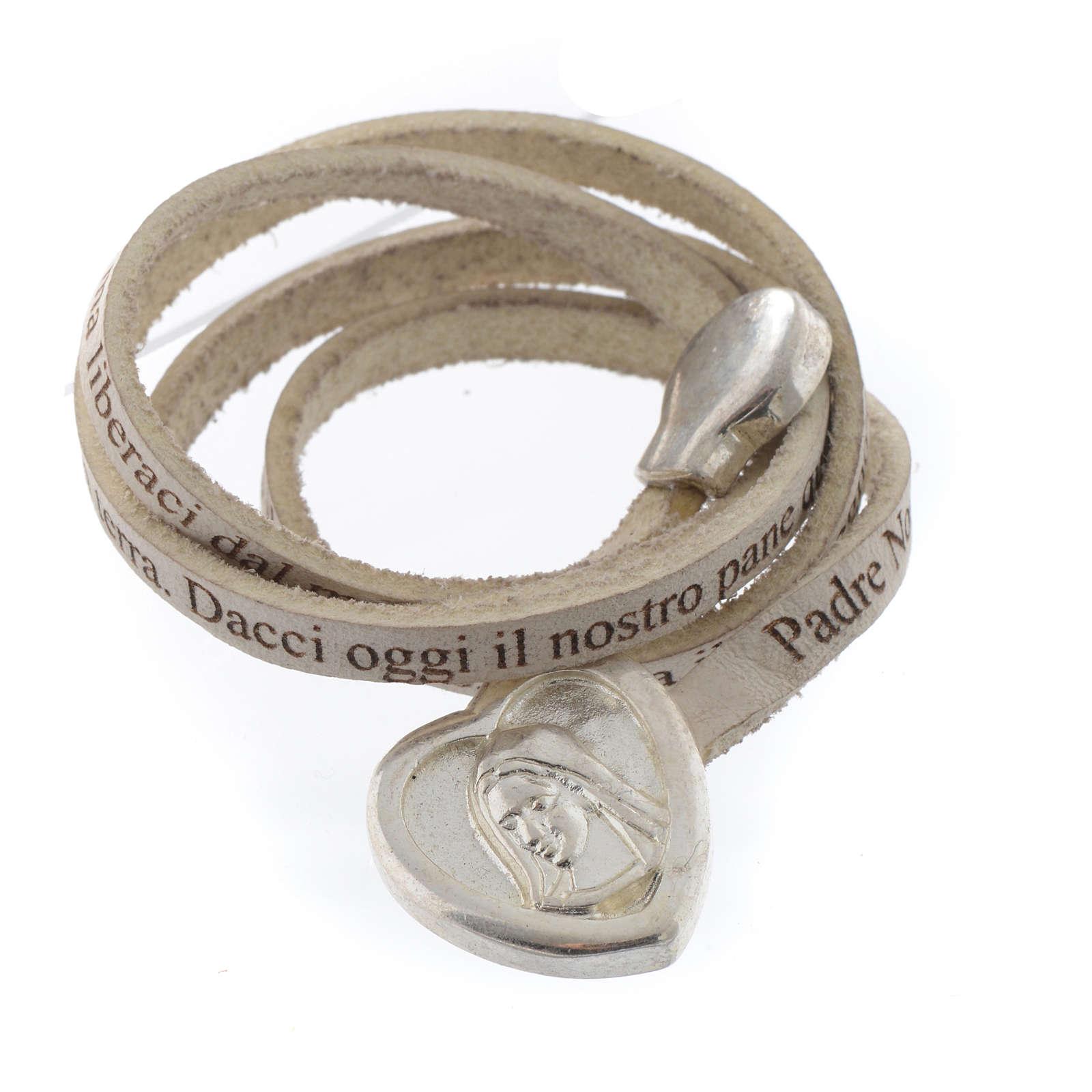 Bracelet cuir coeur Notre Père blanc ITA 4