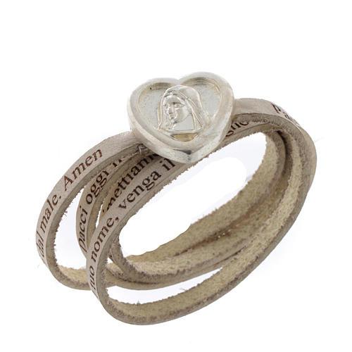 Bracelet cuir coeur Notre Père blanc ITA 1