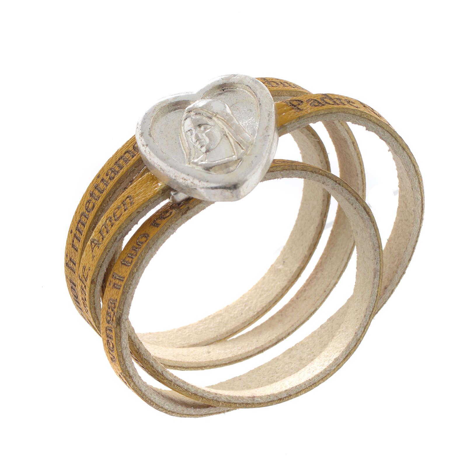 Bracelet cuir coeur Notre Père jaune ITA 4