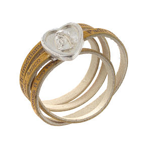Bracelet cuir coeur Notre Père jaune ITA s1