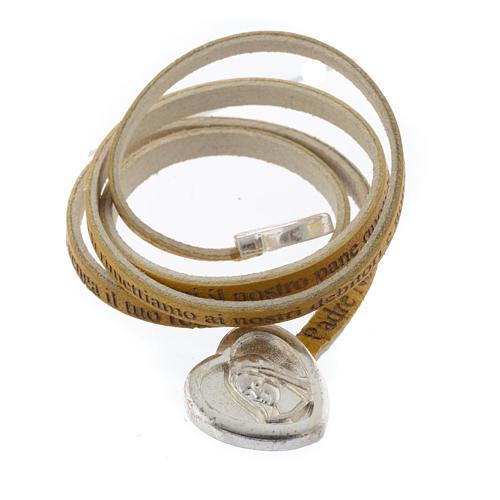 Bracelet cuir coeur Notre Père jaune ITA 2