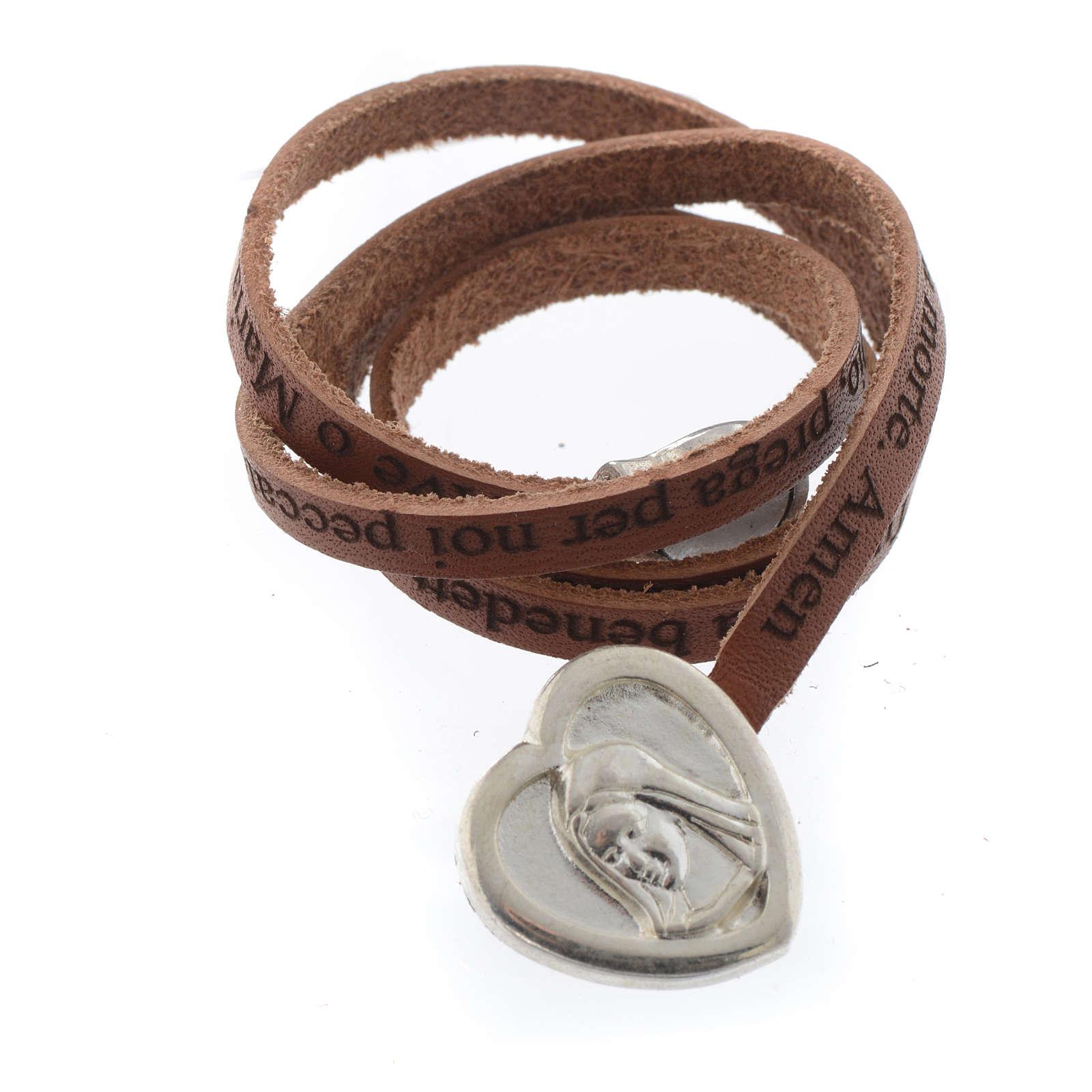 Bracelet cuir coeur Ave Maria brun ITA 4