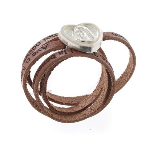 Bracelet cuir coeur Ave Maria brun ITA 1