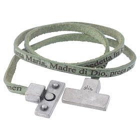 Bracciale pelle croce Ave Maria Uomo Verde s2