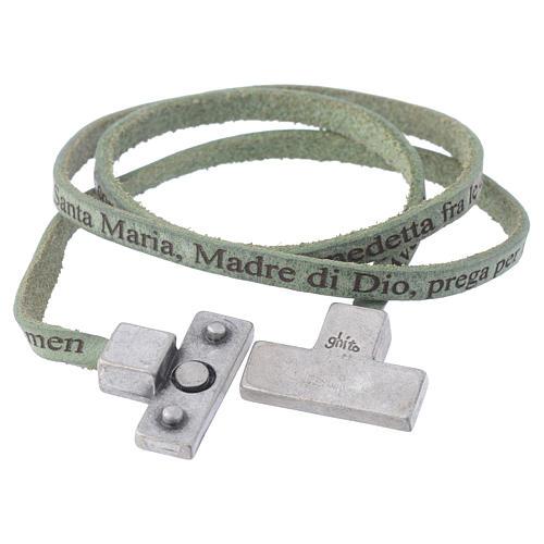 Bracciale pelle croce Ave Maria Uomo Verde 2