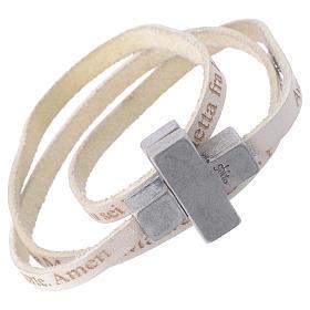 Bracciale pelle croce Ave Maria Uomo Bianco s1