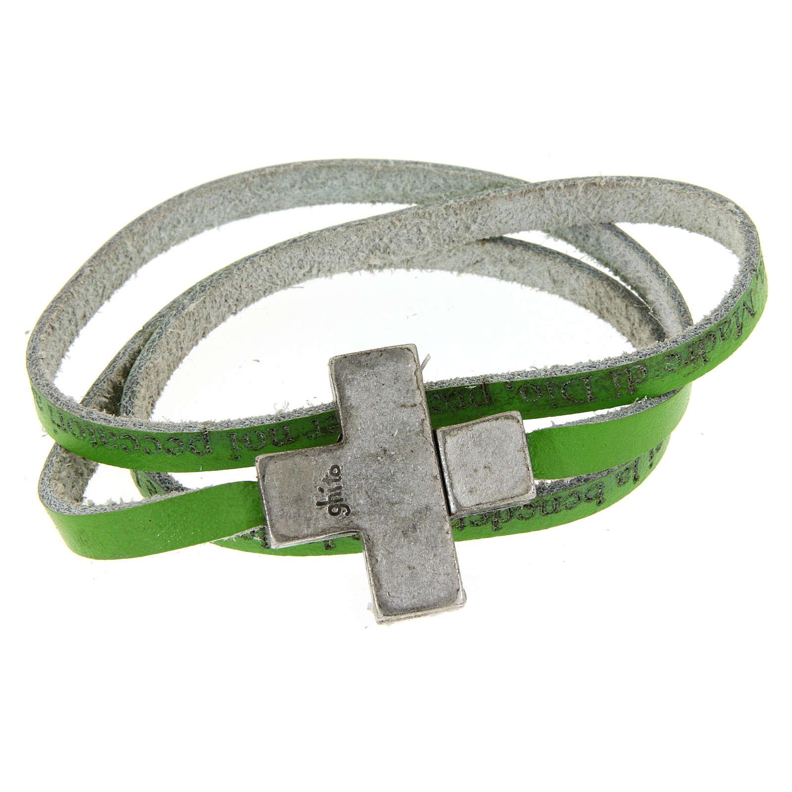 Bracciale pelle croce Ave Maria Donna Verde 4