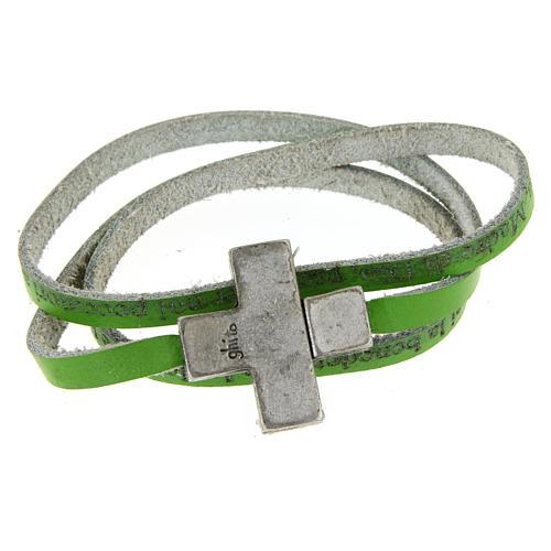 Bracciale pelle croce Ave Maria Donna Verde 1