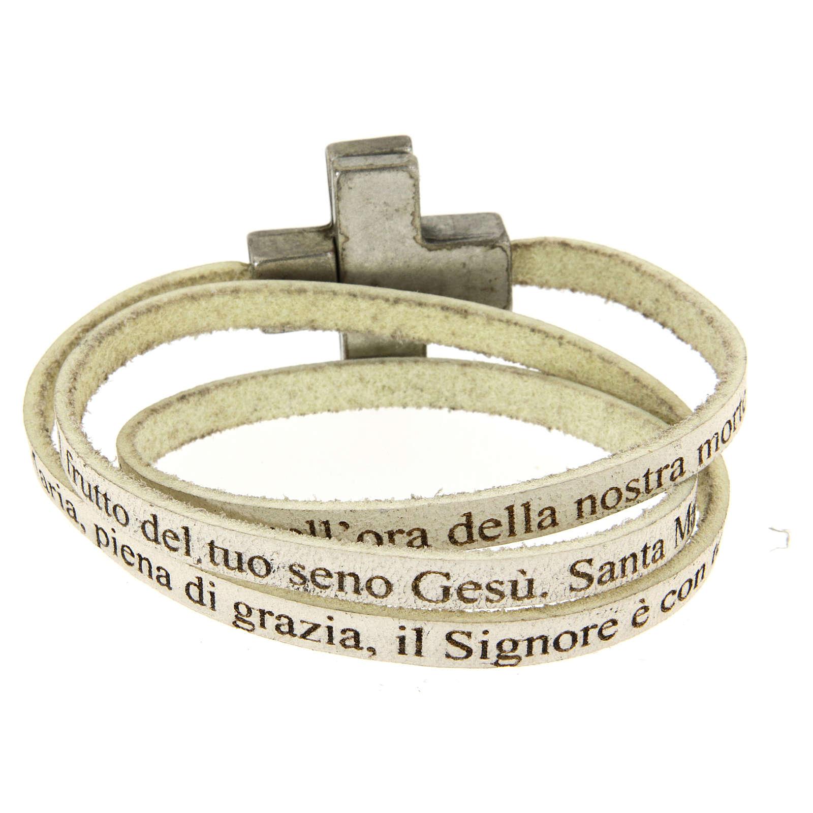 Bracciale pelle croce Ave Maria Donna Bianco 4