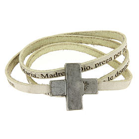 Bracciale pelle croce Ave Maria Donna Bianco s1