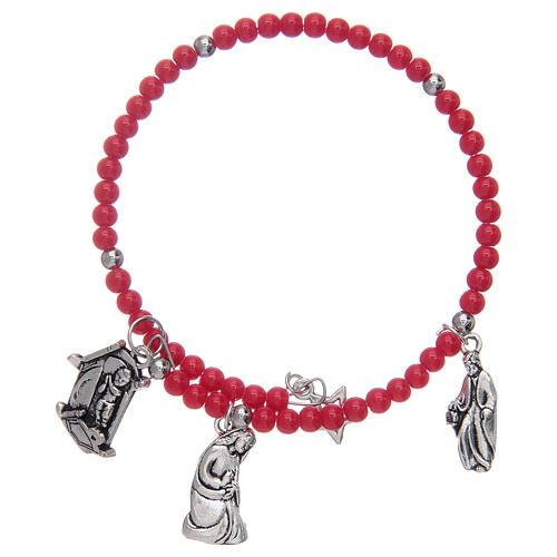 Bracelet chapelet avec grains en verre et breloques Nativité 1