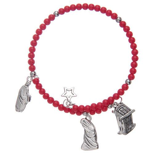 Bracciale rosario con grani in vetro con ciondoli Natività assortiti 2