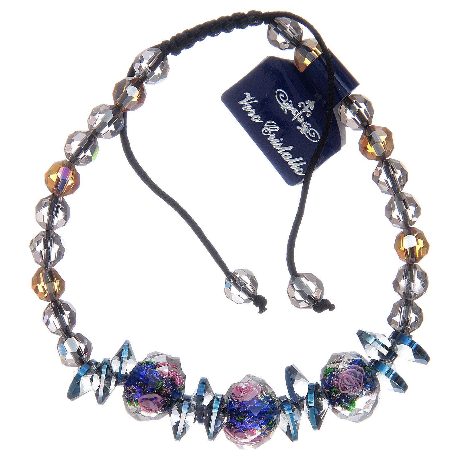 Bracciale su cordoncino con grani in Cristallo con rose blu 4