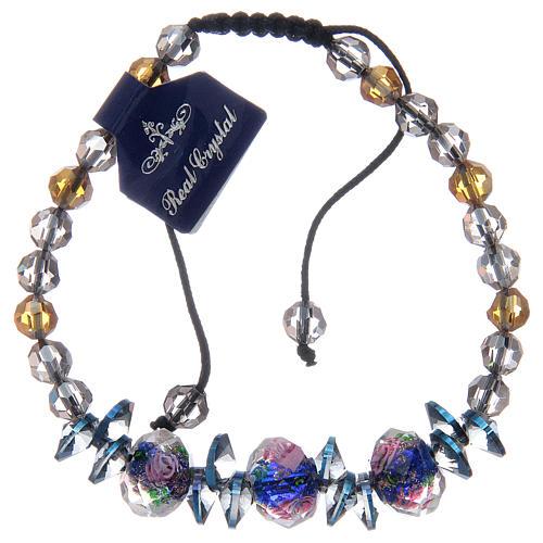 Bracciale su cordoncino con grani in Cristallo con rose blu 1