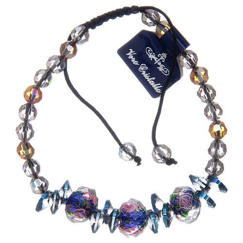 Bracciale su cordoncino con grani in Cristallo con rose blu 2