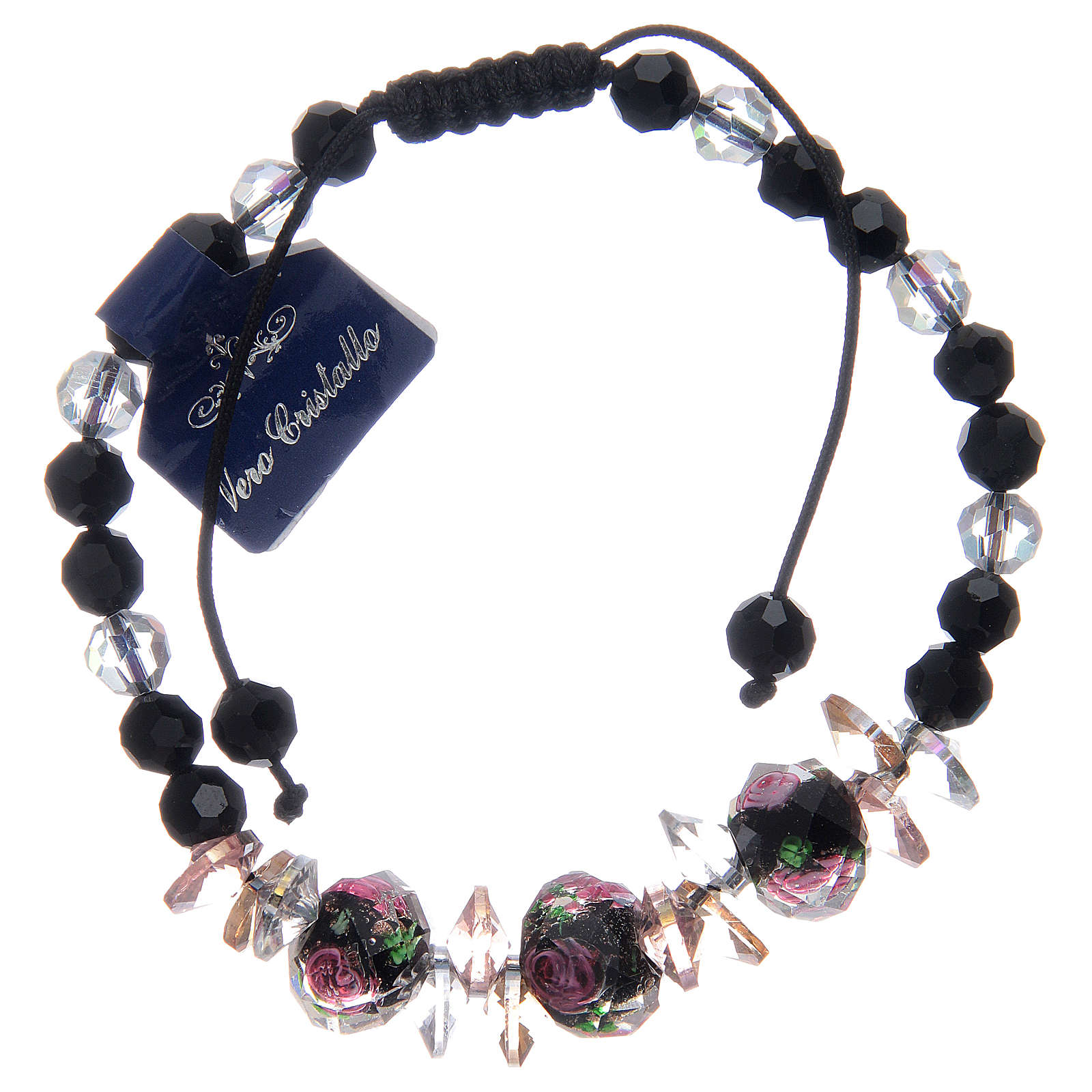Bracelet corde avec grains cristal avec roses noir 4