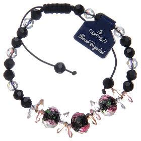 Bracelet corde avec grains cristal avec roses noir s2