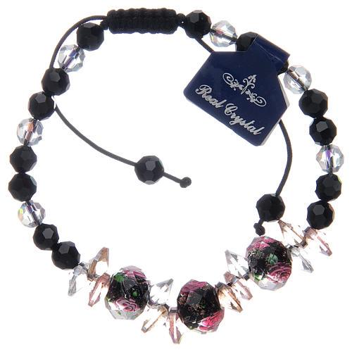 Bracelet corde avec grains cristal avec roses noir 2