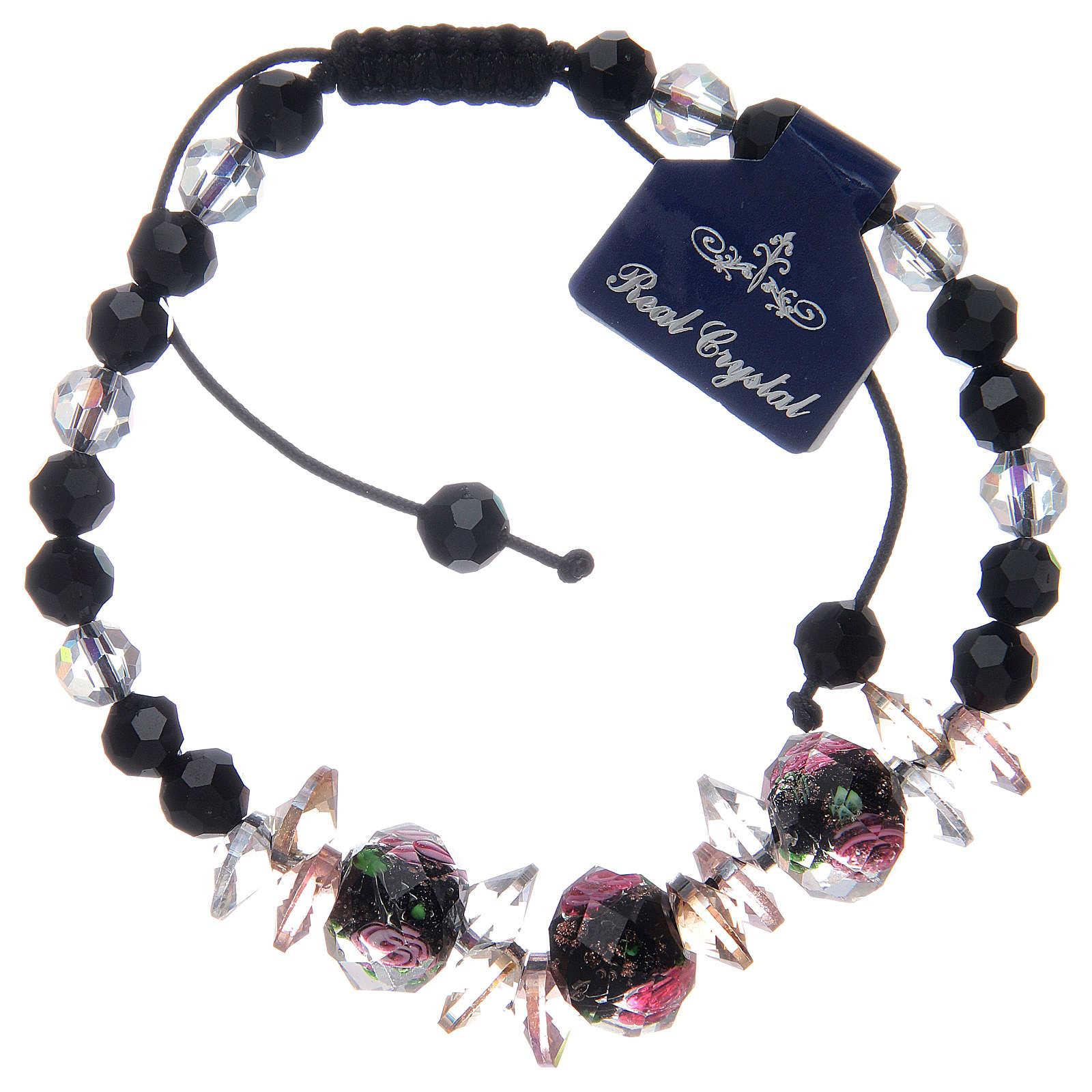 Bracciale cordoncino con grani cristallo con rose nero 4