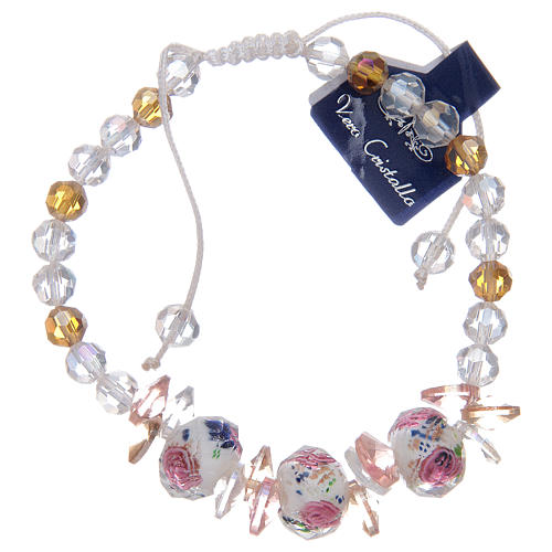 Bracelet with cord, crystal grains and white roses 2