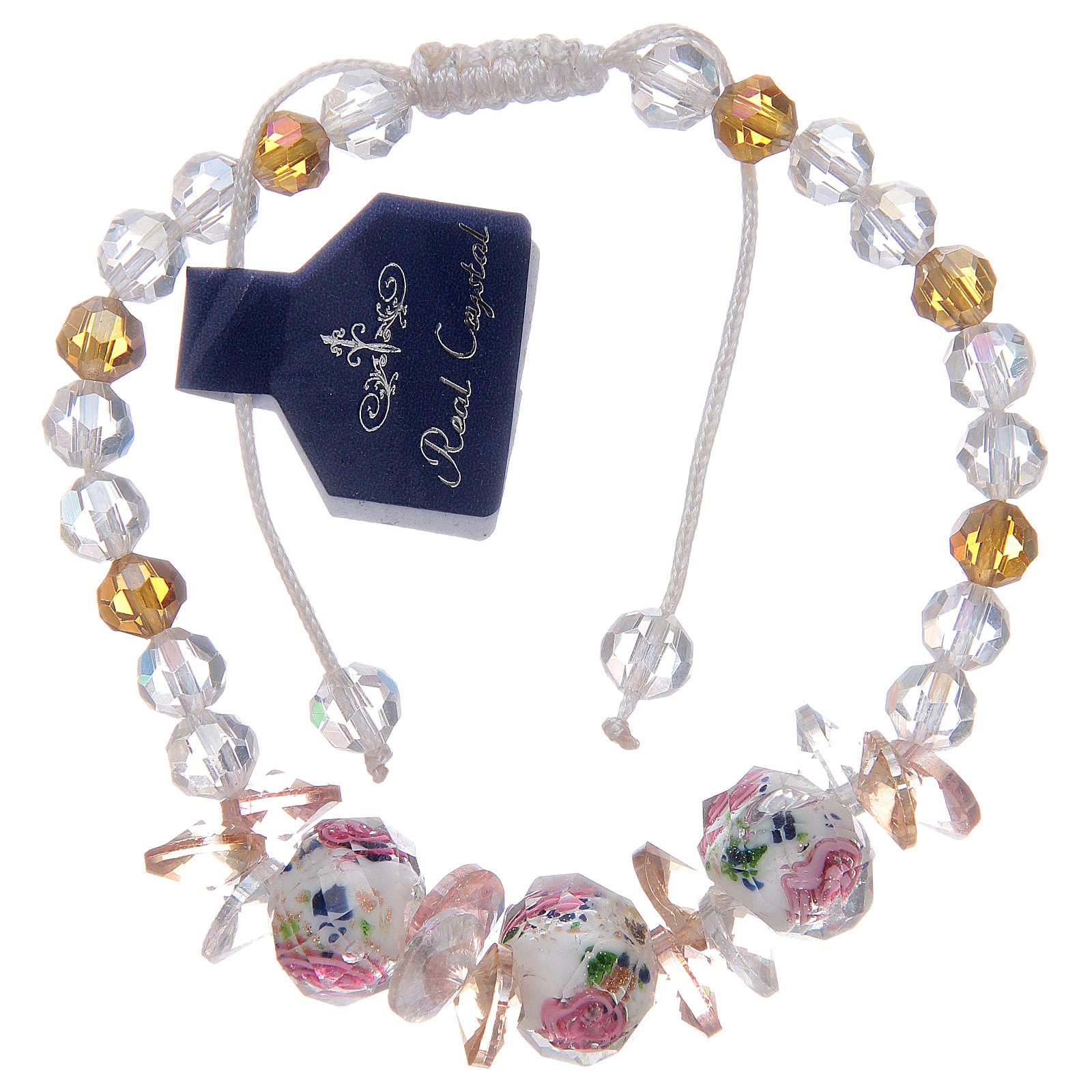 Bracelet with cord, crystal grains and white roses 4