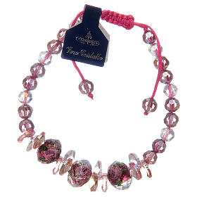 Bracelet with cord, crystal grains and roses s1