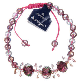 Bracelet with cord, crystal grains and roses s2