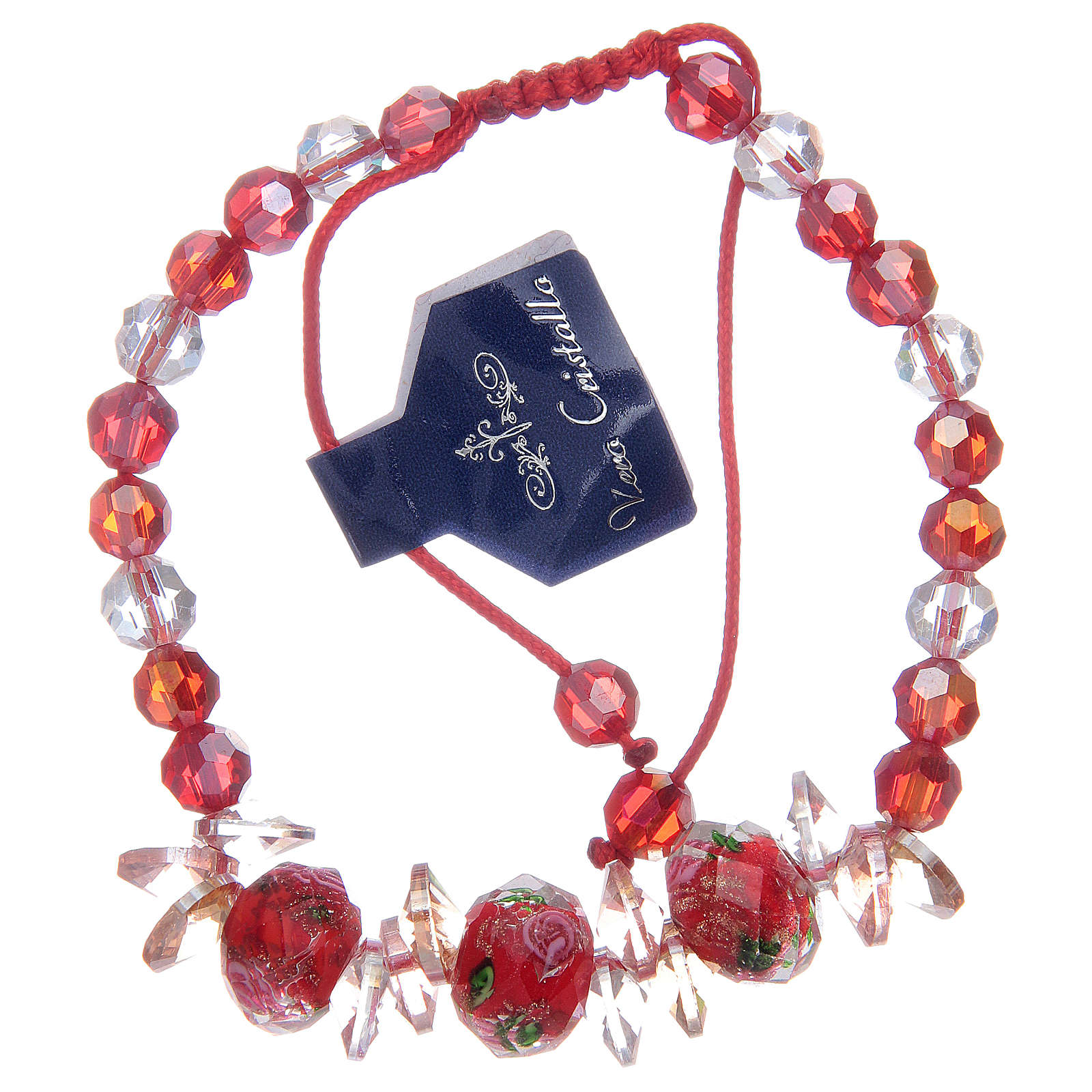 Bracelet with red cord, crystal grains and roses 4