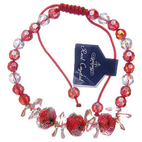 Bracelet with red cord, crystal grains and roses s1