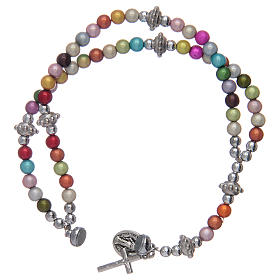 Rosary bracelet with multicoloured acrylic grains s3